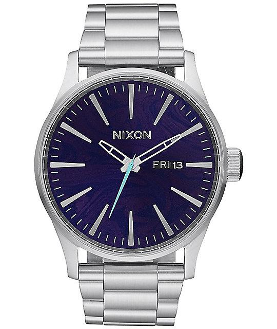 Watch Links Nixon Purple: Nixon Sentry SS Silver & Purple Analog Watch