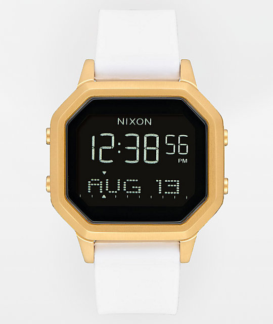 Nixon Siren SS Gold & White Rubber Digital Watch