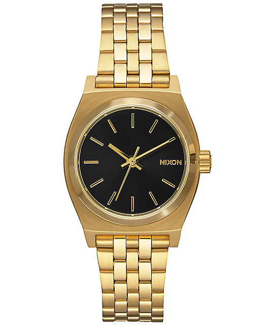 Nixon Small Time Teller Gold & Black Watch