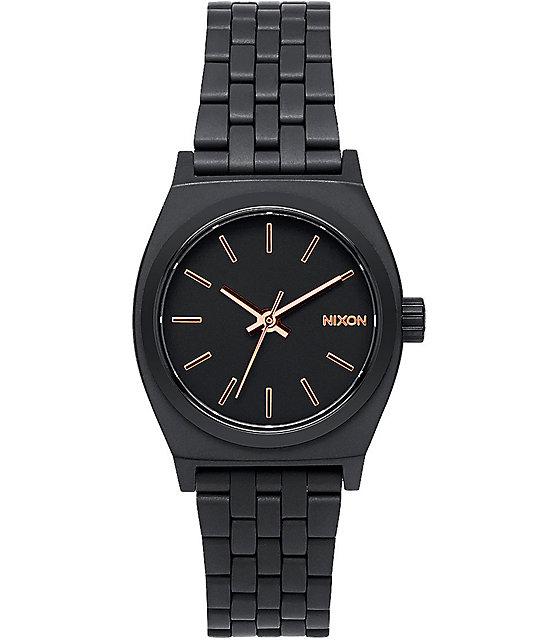 5d6667a456b6 Nixon Small Time Teller reloj todo negro y oro rosa ...