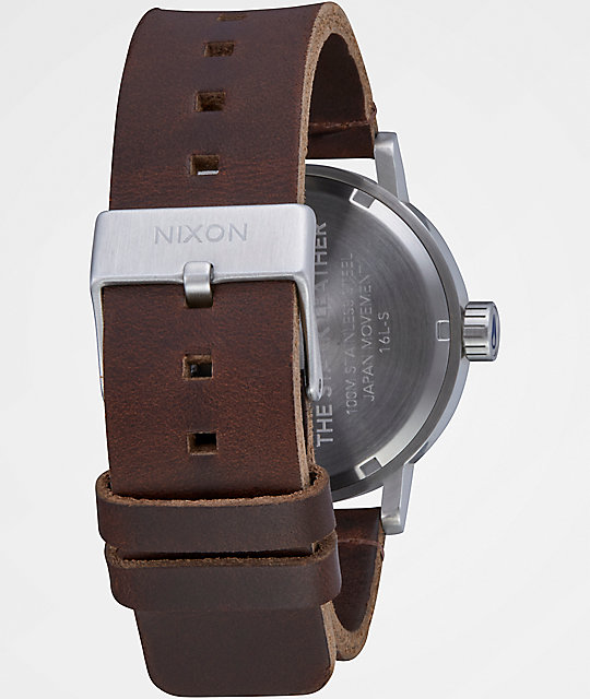 Nixon Stark Leather Blue Sunray & Brown Watch