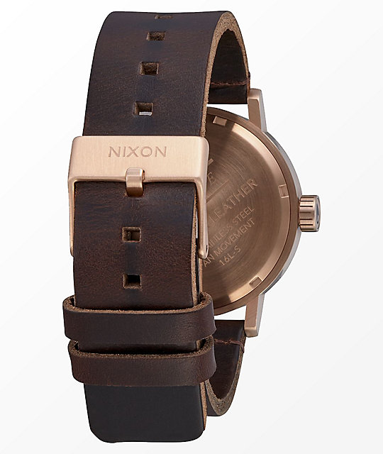 Nixon Stark Leather Rose Gold, Gunmetal & Brown Analog Watch