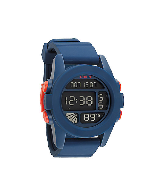 Nixon The Unit Navy Blue & Orange Digital Watch