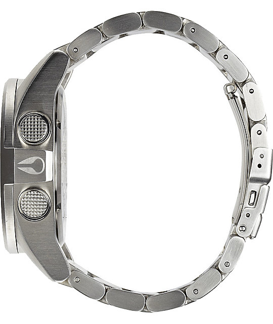 Nixon The Unit SS Silver & Red Digital Watch