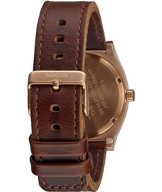 Nixon time teller leather analog watch zumiez for Watches zumiez