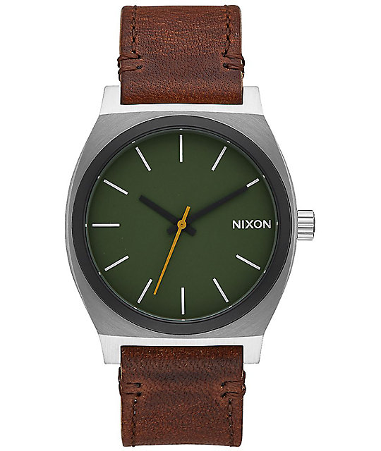 Nixon Time Teller Leather reloj en verde y marrón ... 2f0fb6108f7c