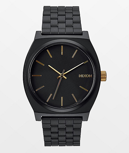 Nixon Time Teller Matte Black & Gold Analog Watch