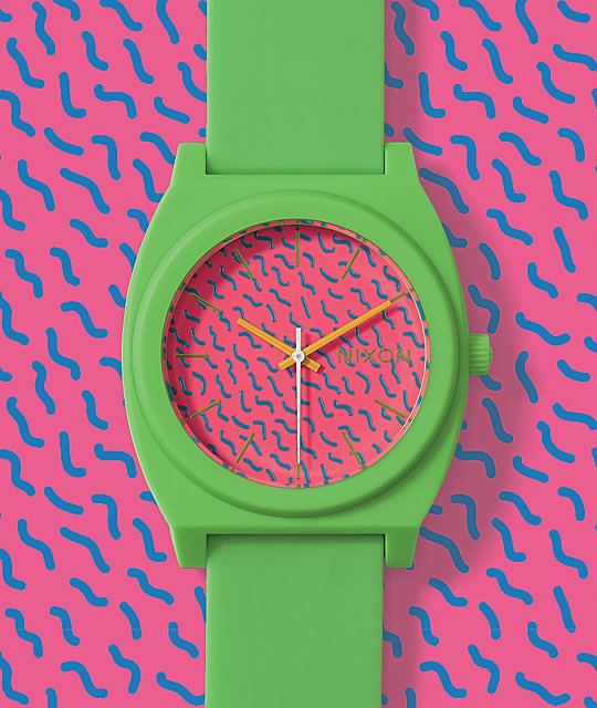 Nixon Time Teller Matte Neon Green & Pink Analog Watch