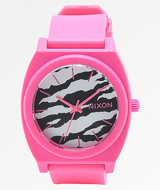 Nixon Time Teller Matte Neon Pink & Zebra Analog Watch