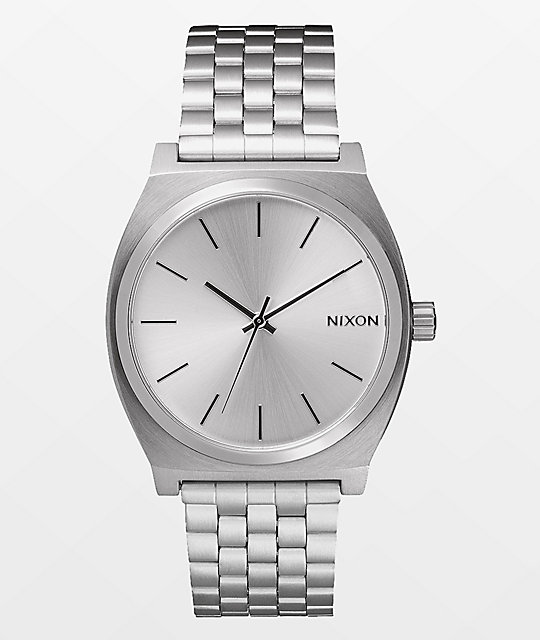 Nixon time teller silver analog watch for Watches zumiez