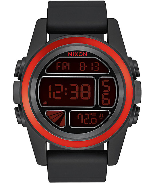 Nixon Unit Mashed reloj digital en negro y rojo