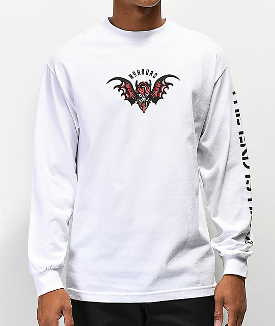 NoHours Hidden Dragon White Long Sleeve T-Shirt