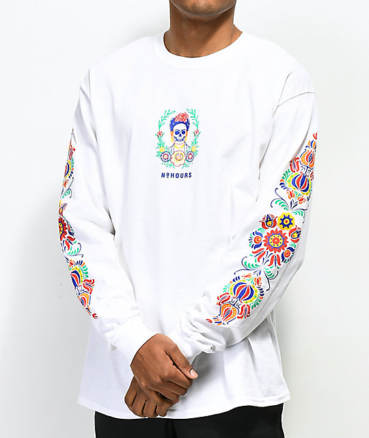 N°Hours Sleep White Long Sleeve T-Shirt | Zumiez