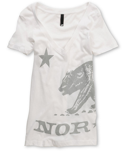 Nor Cal Big Ben White V-Neck T-Shirt