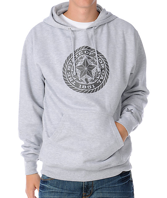 Nor Cal Emblematic Heather Grey Mens Pullover Hoodie