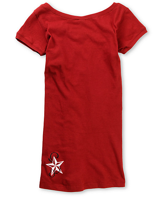Nor Cal Ritz Red Scoop Neck T-Shirt