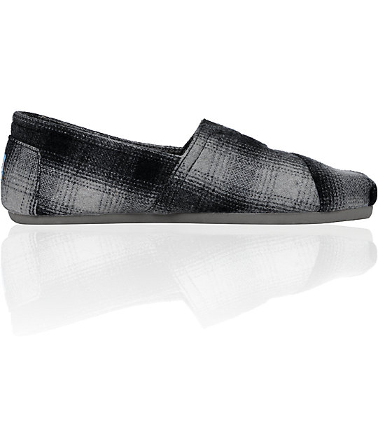 ON SALE Toms Classics Grey Plaid Shearling Shoes