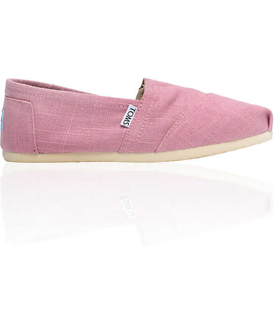 ON SALE Toms Classics Linen Pink Womens Shoes
