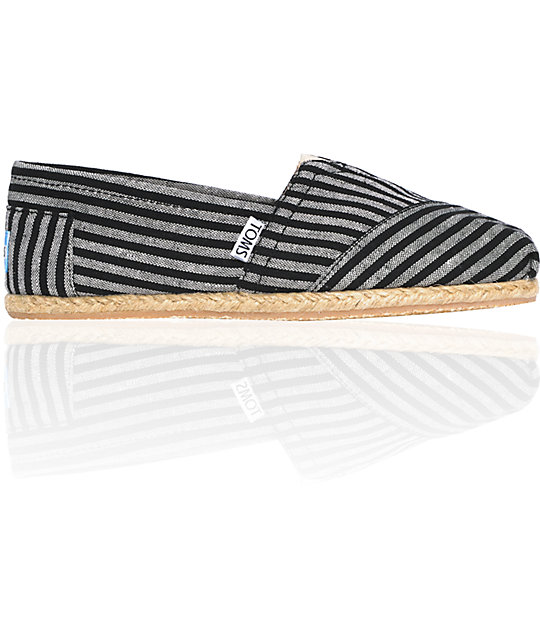 ON SALE Toms Classics Striped Rope Sole Grey Womens Shoes