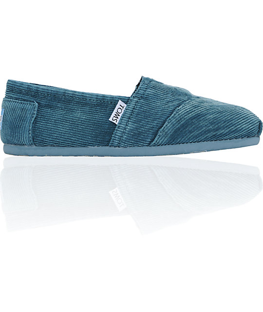ON SALE Toms Classics Teal Stonewash Corduroy Womens Shoes