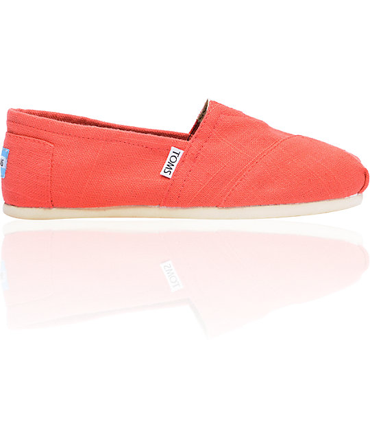 ON SALE Toms Classics Womens Coral Linen Shoes