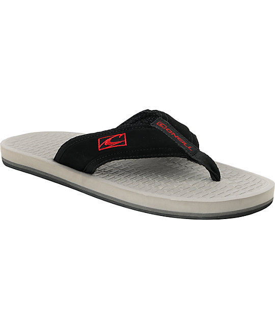 ONeill Koosh 2 Mens Grey, Black & Red Flip-Flop Sandals