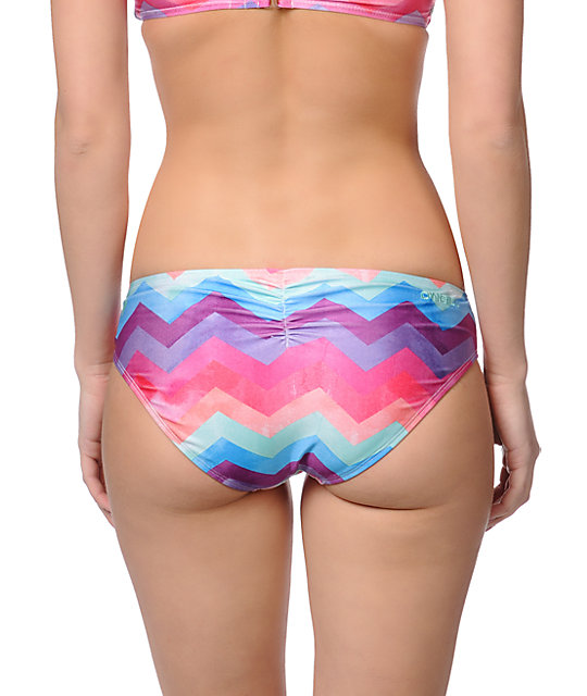 ONeill Painted Chevron Stripe Cinched Basic Bikini Bottom