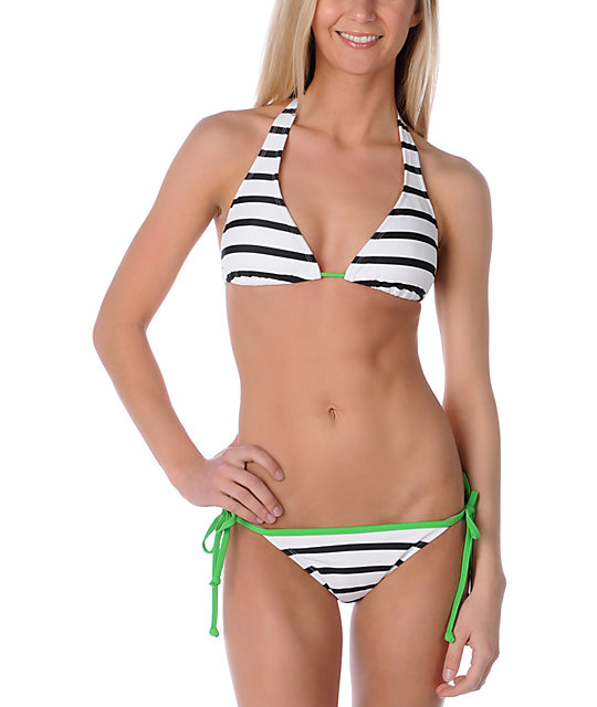 ONeill Read Between The Lines White & Black Halter Top
