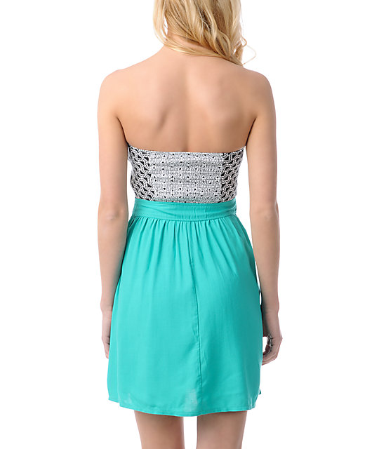 ONeill Wild Tribe Black, White, & Teal Strapless Dress