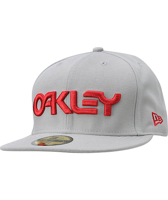 c8c19b40e47 Oakley Factory Grey   Red New Era Fitted Hat