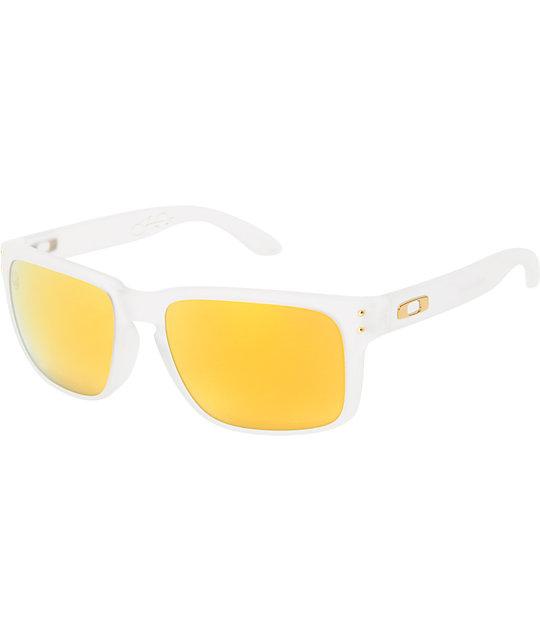dbc9459dfd4 Oakley Holbrook Shaun White Matte Clear   Gold Polarized Sunglasses ...