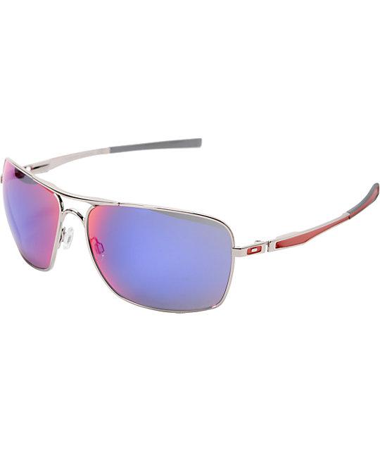 53232aae8 Oakley Plaintiff Squared Chrome & Red Iridium Sunglasses | Zumiez