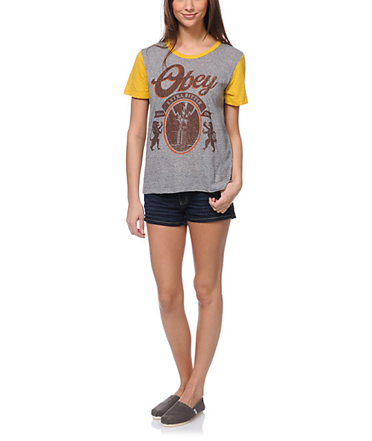 Obey 77 Brewski Grey & Yellow T-Shirt