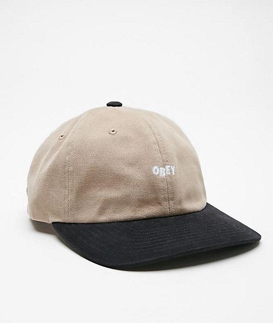 4afcbcb7 Obey 90s Jumble Black & Khaki Strapback Hat