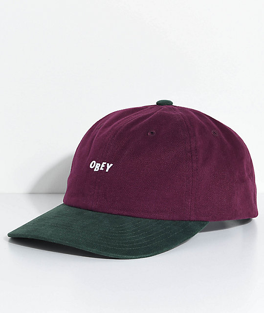 2d9a88b10 Obey 90s Jumble Eggplant & Forest Six Panel Hat