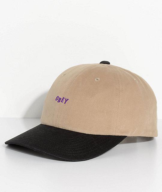 a328520d Obey 90s Jumble Six Panel Khaki & Black Snapback Hat