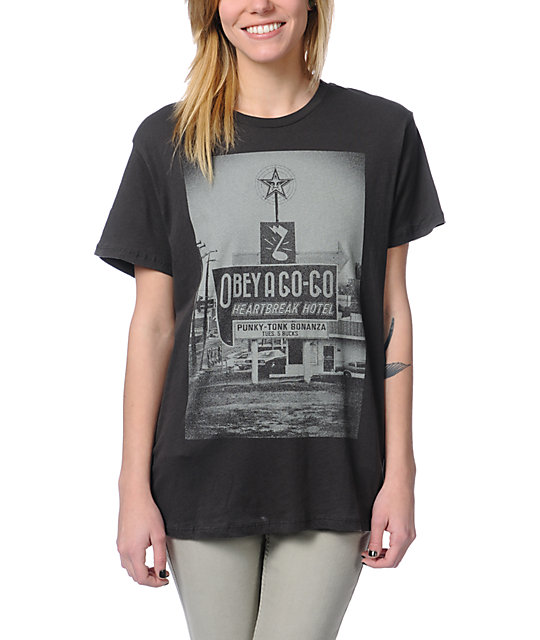 Obey A Go-Go Charcoal Tomboy T-Shirt