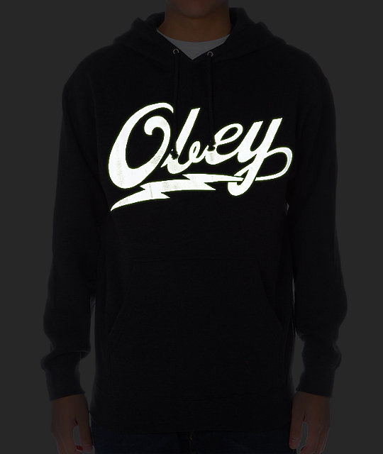 Obey About To Bolt Glow In The Dark Charcoal Hoodie
