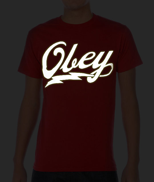 Obey About To Bolt Glow In The Dark Red T-Shirt