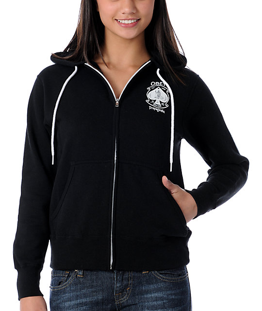 Obey Ace Of Spades Black Glow In The Dark Full- Zip Up Hoodie