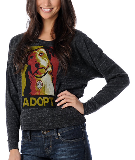Obey Adopt Charcoal Raglan Top