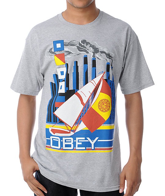 Obey Ahoy Heather Grey T-Shirt