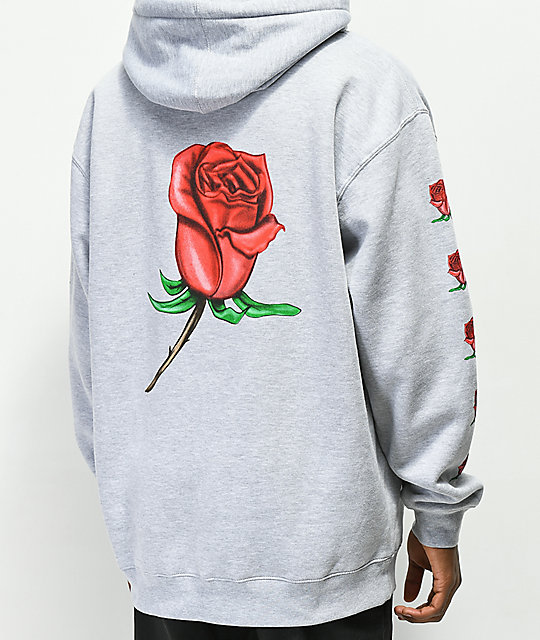 Obey Airbrushed Rose Grey Hoodie by Obey