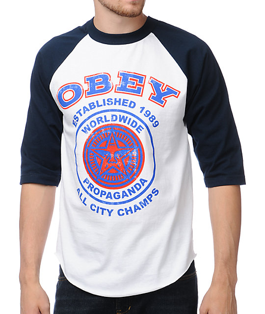 Obey All City Champs Navy & White Baseball T-Shirt
