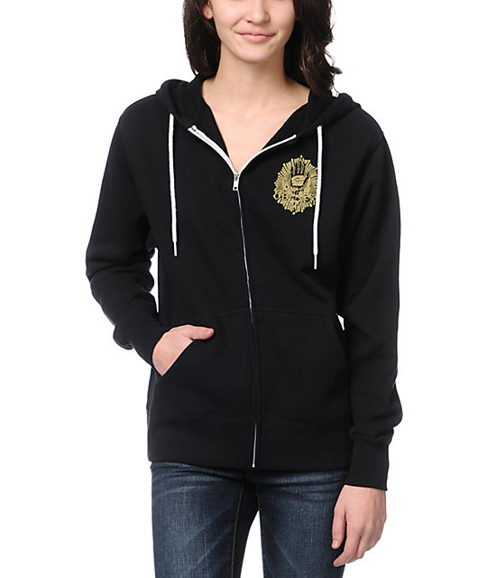 Obey All Eye Black Zip Up Hoodie