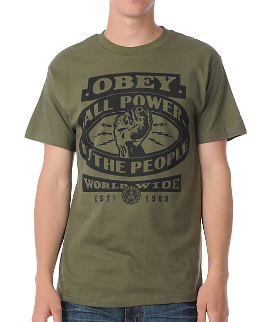 Obey All Power To The People Dark Green T-Shirt