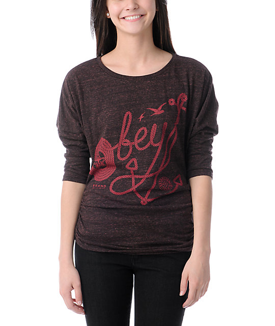 Obey Anchor Crate Heather Red Tri-Blend Dolman Top