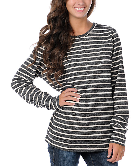 Obey Anchor Heart Black Striped Crew Neck Fleece