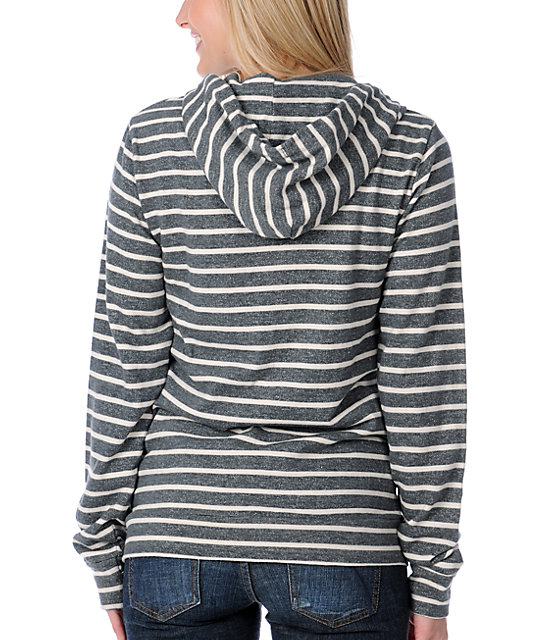Obey Anchor Heart Charcoal & Cream Stripe Zip Up Hoodie