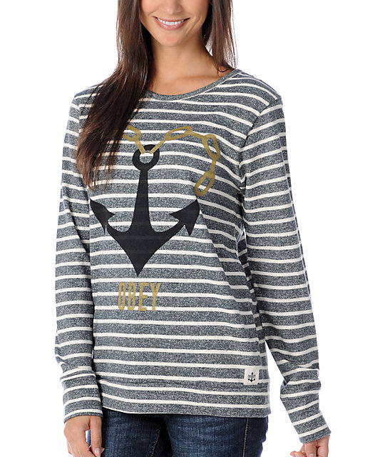 Obey Anchor Heart Charcoal & White Stripe Pullover Sweatshirt